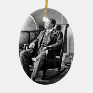 Casa Blanca del vintage de presidente Teddy Adorno Navideño Ovalado De Cerámica