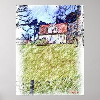 casa blanca en la colina póster