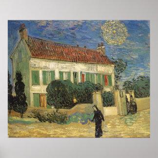 Casa Blanca en la noche de Vincent van Gogh Póster