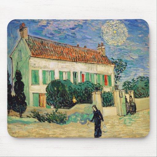 Casa Blanca en la noche de Vincent van Gogh Tapete De Raton