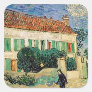 Casa Blanca en la noche - Van Gogh 1890 Pegatinas Cuadradases Personalizadas