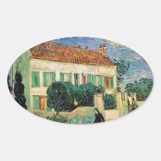 Casa Blanca en la noche - Van Gogh 1890 Pegatinas De Óval