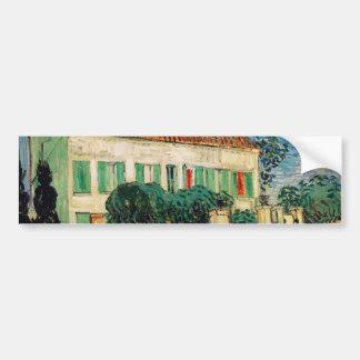 Casa blanca en la noche - Vincent van Gogh Pegatina De Parachoque