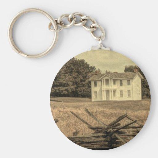 Casa blanca vieja rústica de la granja en campo llavero