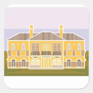 Casa caliente de la mansión pegatina cuadrada