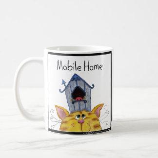 """Casa """"caravana """" del gato y del pájaro taza de café"""