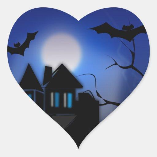 Casa cazada pegatina de corazon