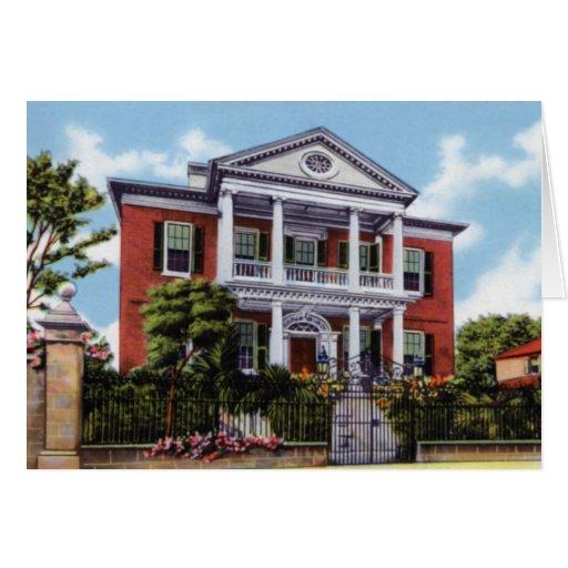 Casa Charleston Carolina del Sur 1920 de Pringle Tarjeta