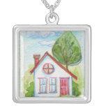Casa colorida de la acuarela joyerias personalizadas