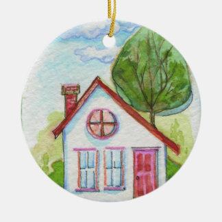 Casa colorida de la acuarela adorno