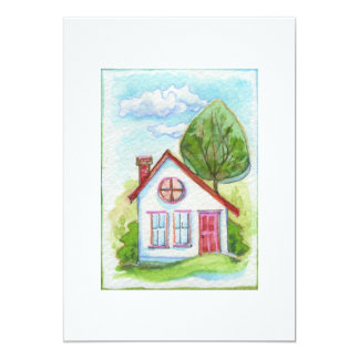 Casa colorida de la acuarela comunicados