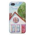 Casa colorida de la acuarela iPhone 4/4S fundas