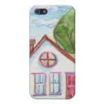 Casa colorida de la acuarela iPhone 5 carcasa