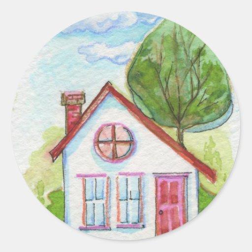 Casa colorida de la acuarela pegatina redonda