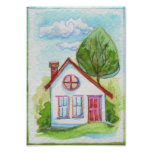 Casa colorida de la acuarela poster