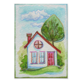 Casa colorida de la acuarela póster