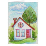 Casa colorida de la acuarela tarjeta
