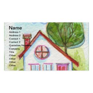 Casa colorida de la acuarela tarjetas personales