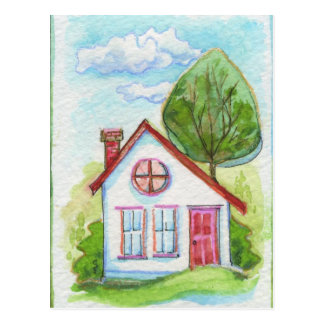 Casa colorida de la acuarela postal