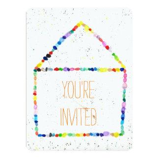 """Casa colorida de la acuarela """"usted es"""" tarjetas invitación 6.5"""" x 8.75"""""""