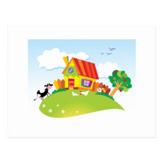 Casa colorida postales