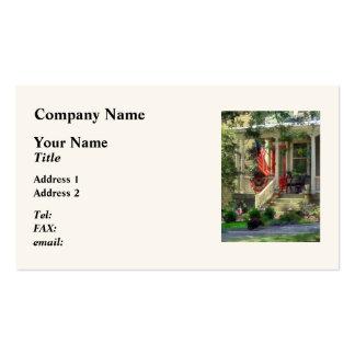 Casa con el empavesado y la bandera tarjeta de visita