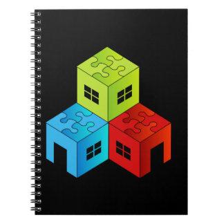 Casa con el tejado del rompecabezas cuadernos