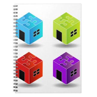 Casa con el tejado del rompecabezas cuaderno