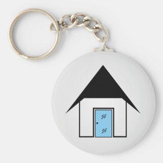 Casa con la puerta de cristal llavero redondo tipo pin
