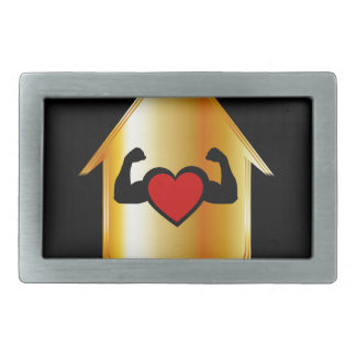 Casa con un corazón sano hebilla cinturón rectangular