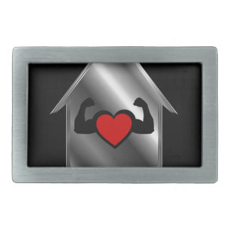 Casa con un corazón sano hebilla de cinturon rectangular