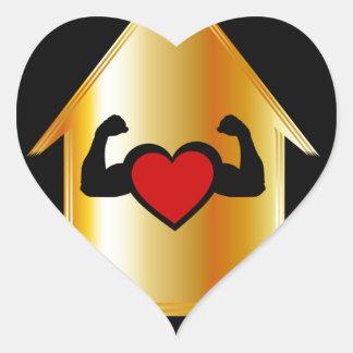 Casa con un corazón sano pegatina en forma de corazón