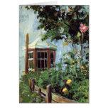 Casa con una ventana salediza en el jardín tarjeton