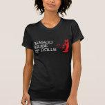 Casa de bambú de la camiseta negra de las mujeres remera
