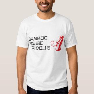 Casa de bambú de la camiseta negra de los hombres poleras