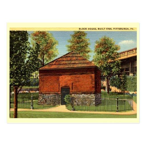 Casa de bloque, vintage de Pittsburgh, Pennsylvani Postal