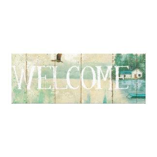 Casa de campo de la orilla del agua impresión en lienzo estirada
