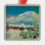 Casa de campo del Timberline en invierno en la cap Adornos