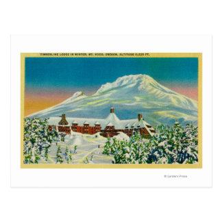Casa de campo del Timberline en invierno en la Postal