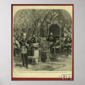 Casa de campo masónica 1875 póster