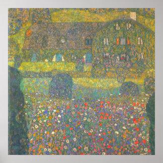 Casa de campo por el Attersee de Gustavo Klimt Póster