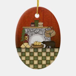 Casa de campo rústica: Navidad de la cabina del pa Ornato