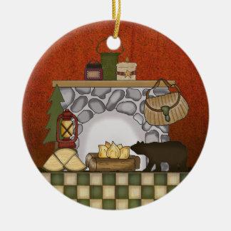 Casa de campo rústica: Navidad de la cabina del pa Ornamento De Navidad