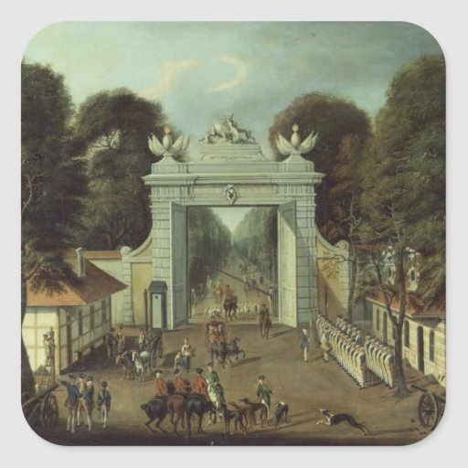Casa de cazadores en Potsdam, c.1735 Calcomanías Cuadradas Personalizadas