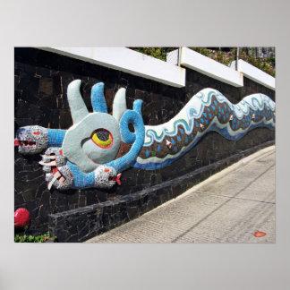 Casa de Diego Rivera de la serpiente azul mural de Poster