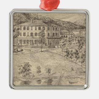 Casa de Dunmore del lago en Salisbury Adorno Cuadrado Plateado