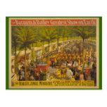 Casa de fieras de la selva en el poster del circo  tarjeta postal
