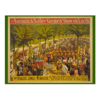 Casa de fieras de la selva en el poster del circo postal