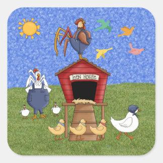 Casa de gallina calcomanía cuadrada