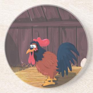 Casa de gallina del pollo del dibujo animado posavasos personalizados